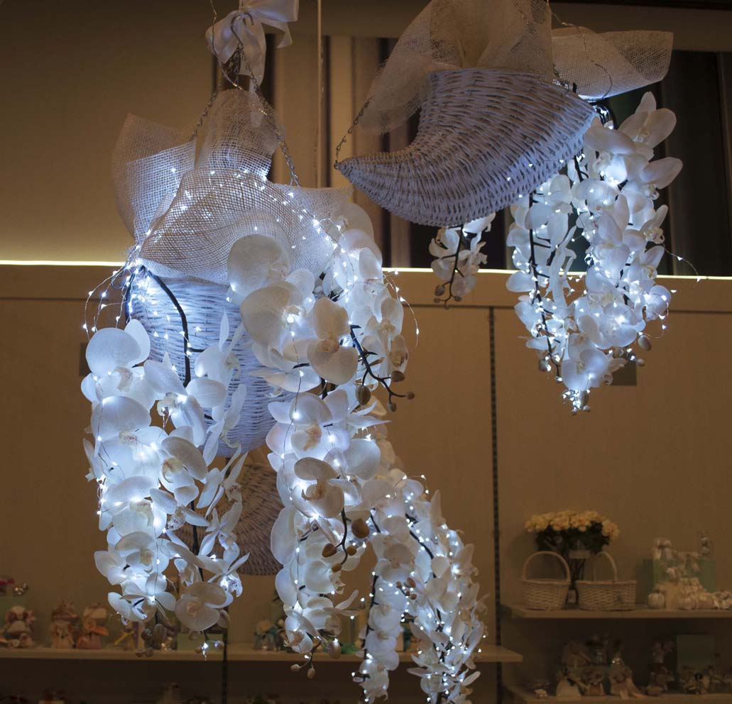 Cornucopie con Orchidee Artificiali e LED